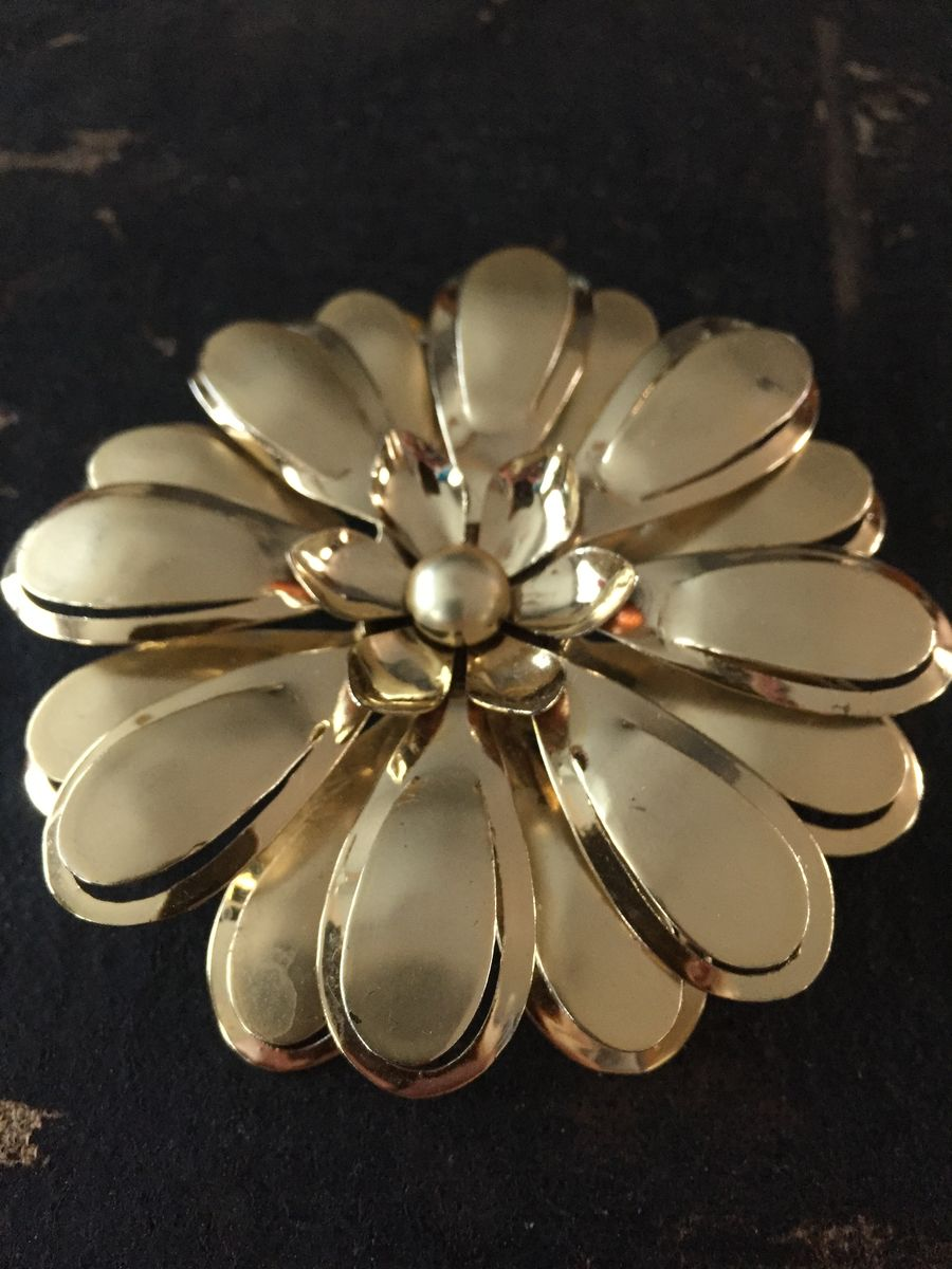 Vintage Large Gold Tone Metal Flower Brooch  - product images  of