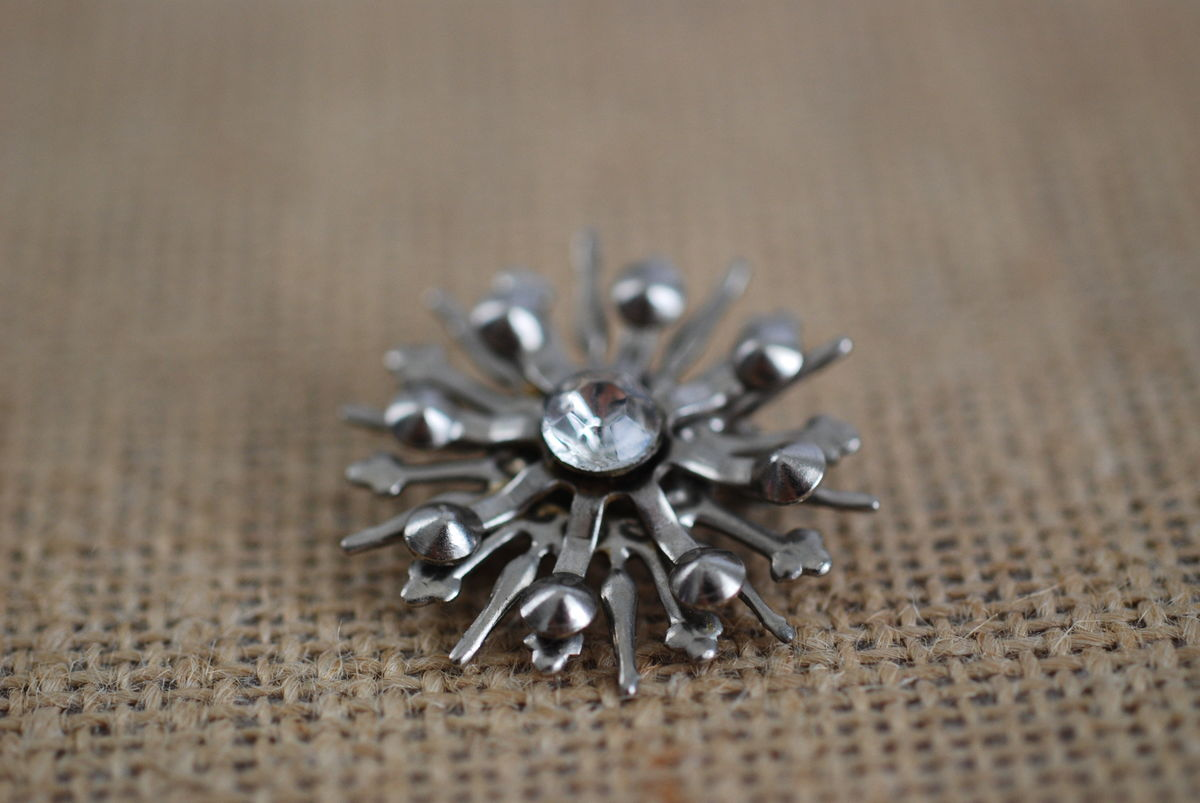 1950's Atomic Starburst Brooch Silver Tone  - product images  of