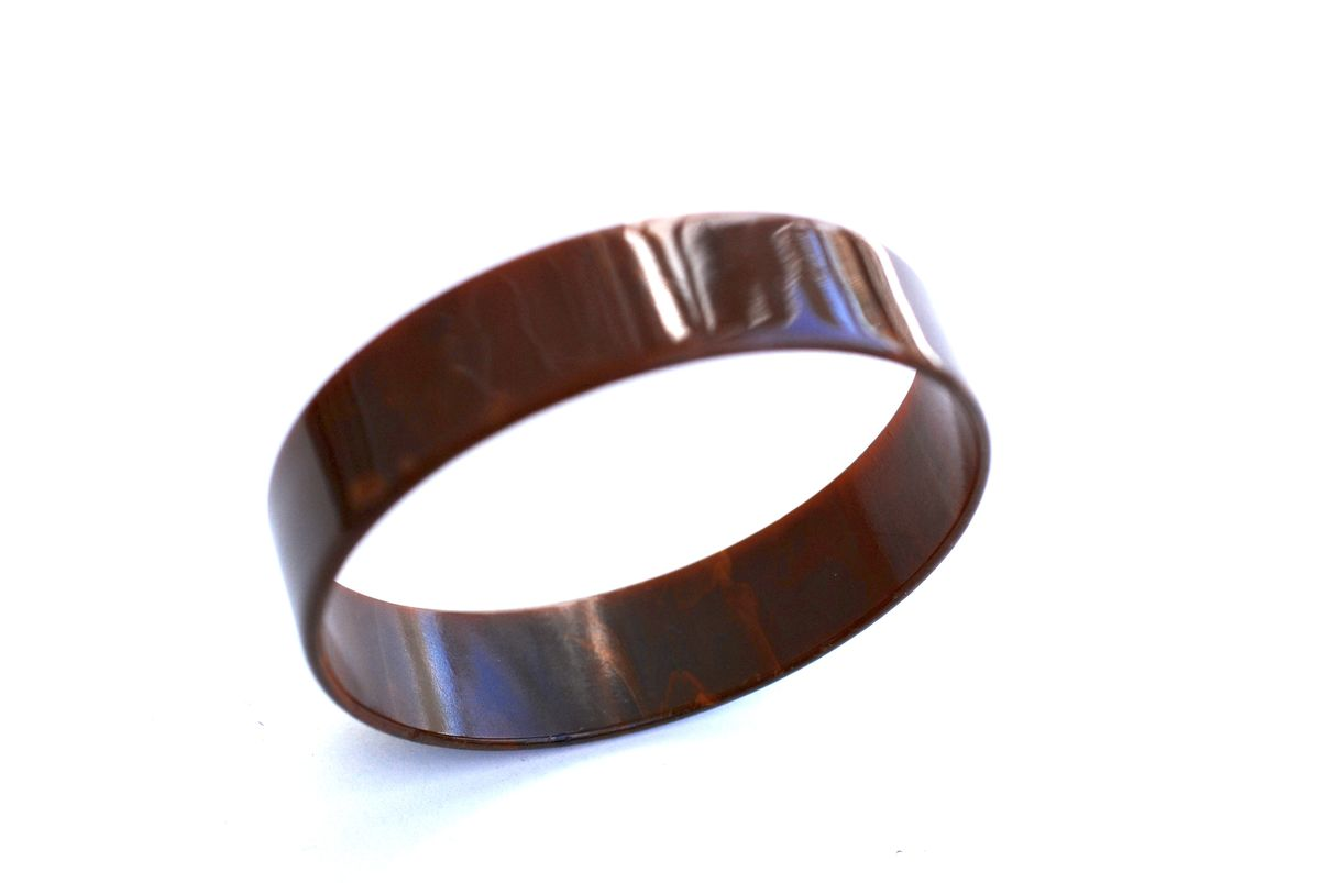 Marbled Chocolate Bakelite Bangle  - product image