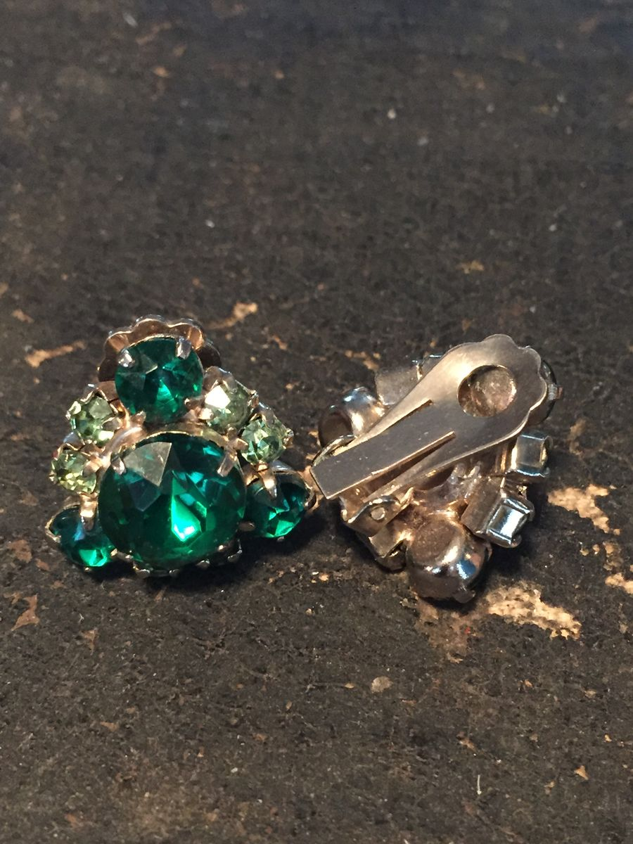 Emerald Green Rhinestone Triangle Cluster Earrings Vintage 1950's - product images  of