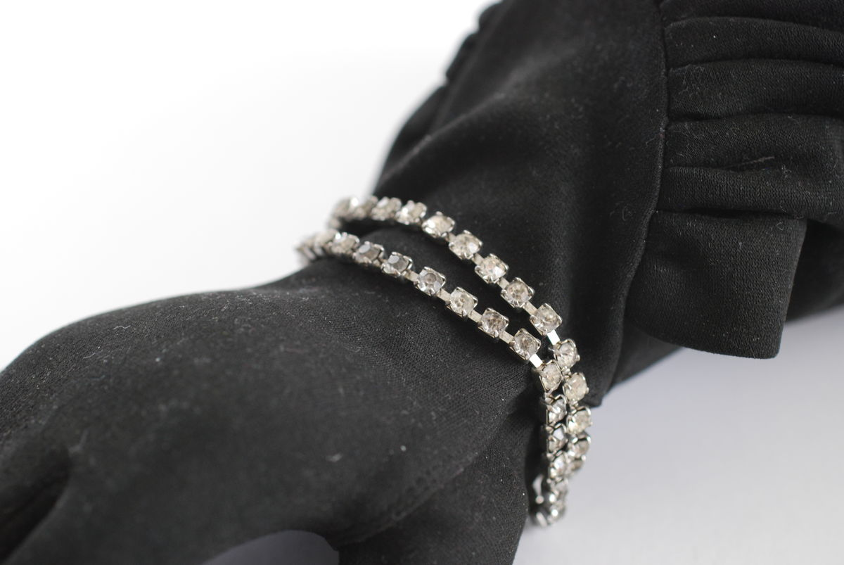 Vintage Double Strand Rhinestone Bracelet with Clasp - product images  of