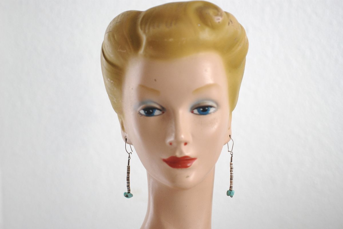 1970's Heishi and Turquoise Earrings - product image