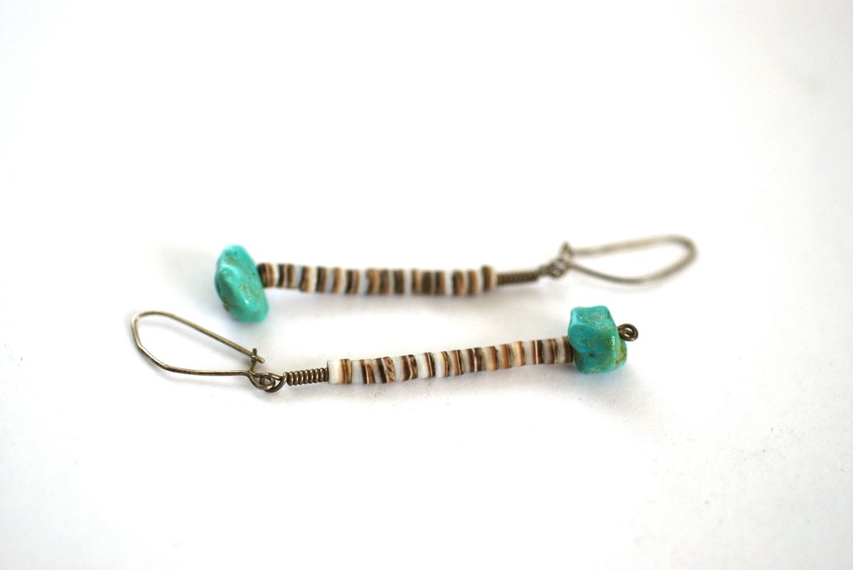 1970's Heishi and Turquoise Earrings - product images  of