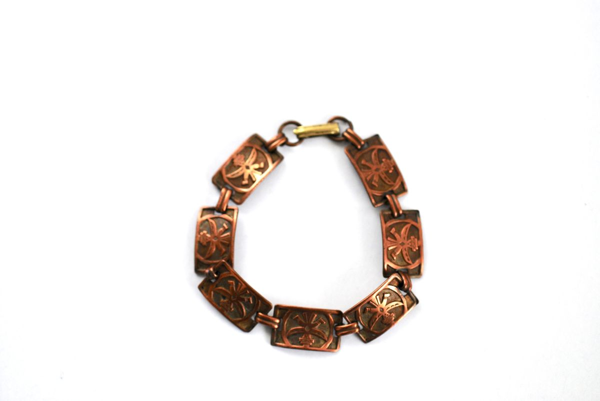 Copper Kachina Panel Bracelet Vintage Bell Trading Post - product image
