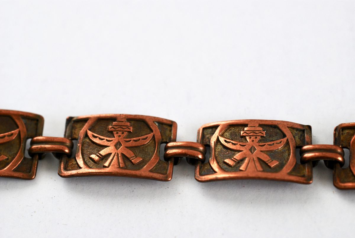 Copper Kachina Panel Bracelet Vintage Bell Trading Post - product images  of