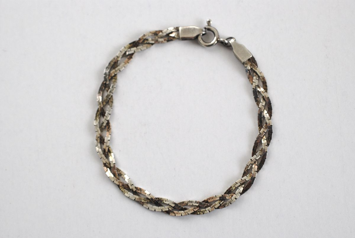 Sterling Silver Triple Strand Braided Herringbone Bracelet  - product image