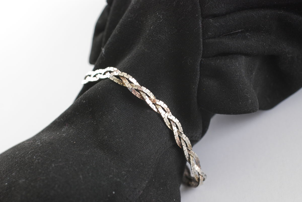 Sterling Silver Triple Strand Braided Herringbone Bracelet  - product images  of
