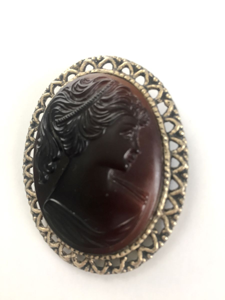 Vintage Glass Cameo Brooch  - product images  of