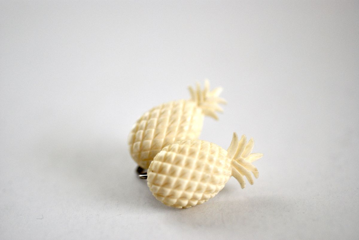 Vintage Carved Celluloid Pineapple Earrings  - product images  of