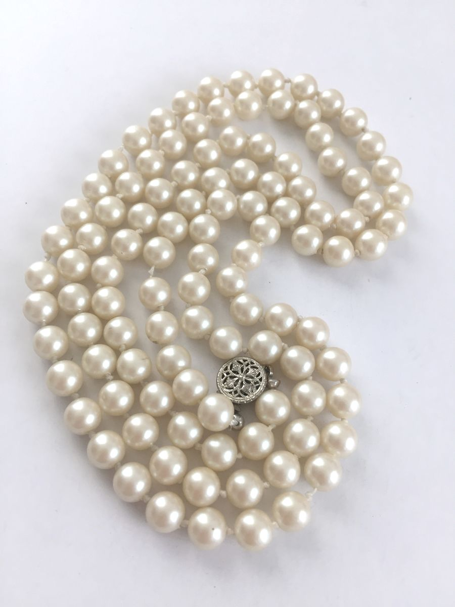 "Vintage Faux Single Strand Pearls 32"" Long - product images  of"