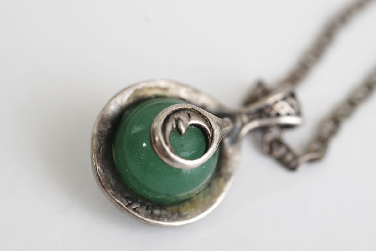 Vintage Sterling Silver and Nephrite Pendant on Sterling Anchor Chain - product images  of