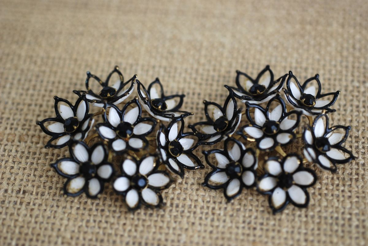 1950's Large Black and White Flower Cluster Earrings - product images  of