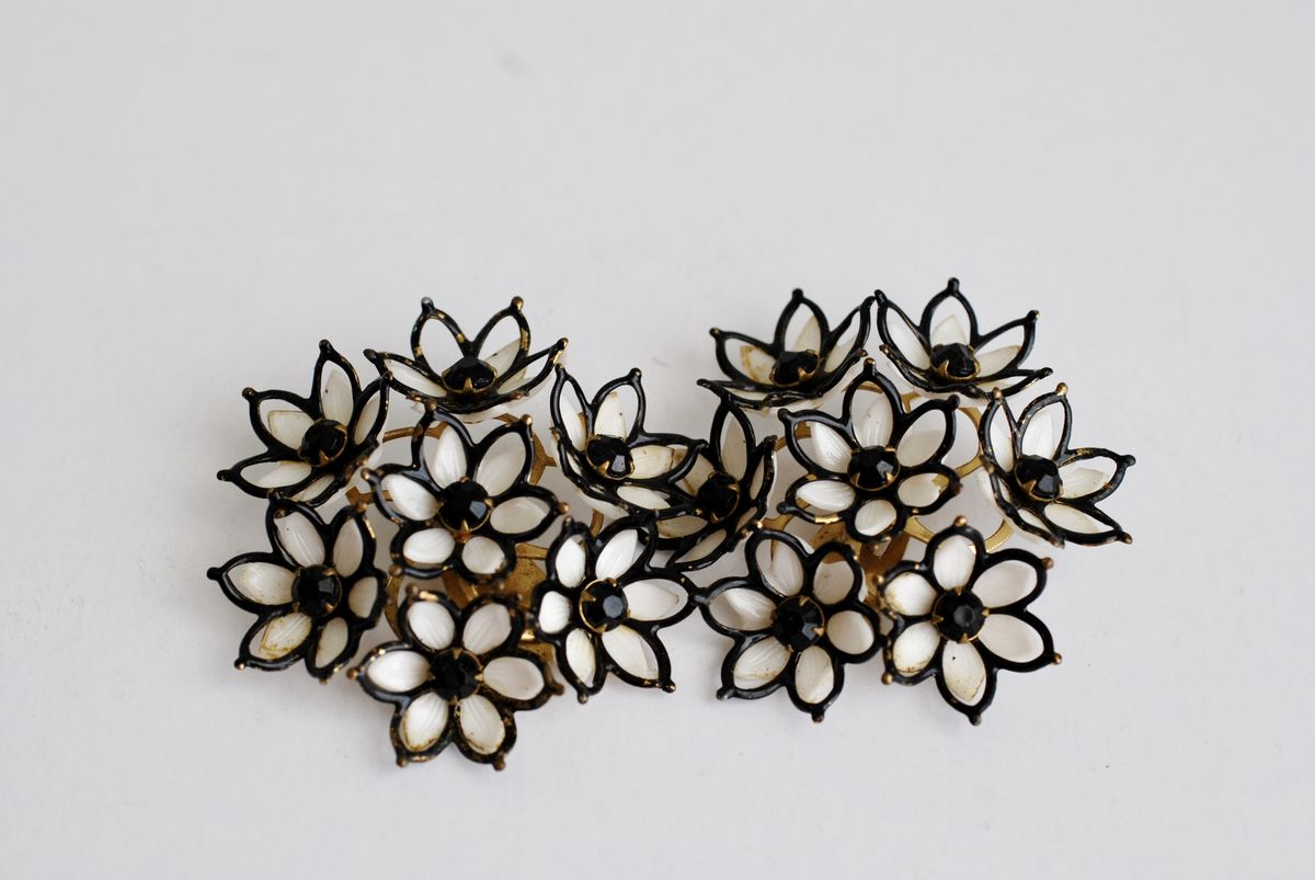 1950's Large Black and White Flower Cluster Earrings - product image