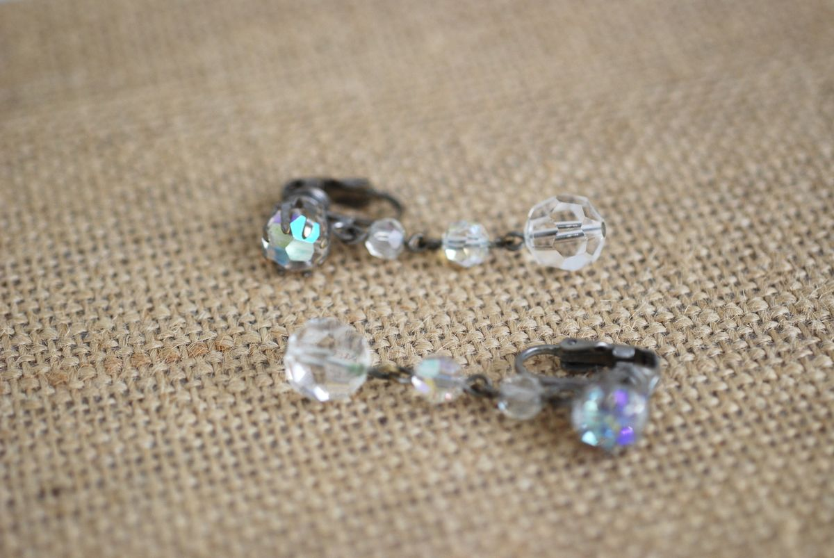 Vintage Aurora Borealis Crystal Drop Earrings Clip Ons - product images  of