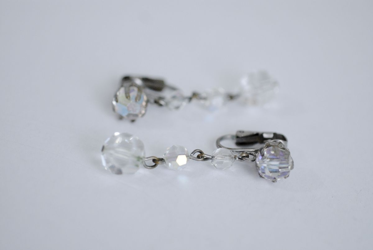 Vintage Aurora Borealis Crystal Cascade Drop Earrings Clip Ons - product images  of