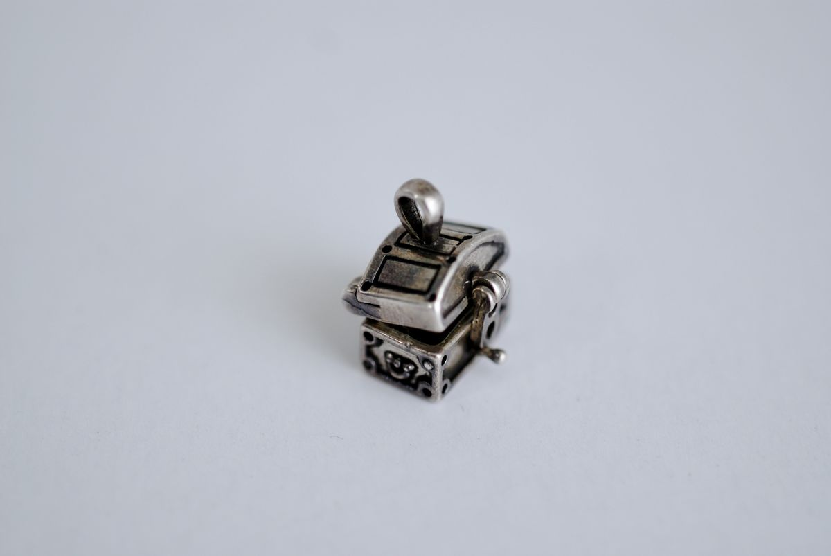 Sterling Silver Moveable Treasure Chest Charm - product image
