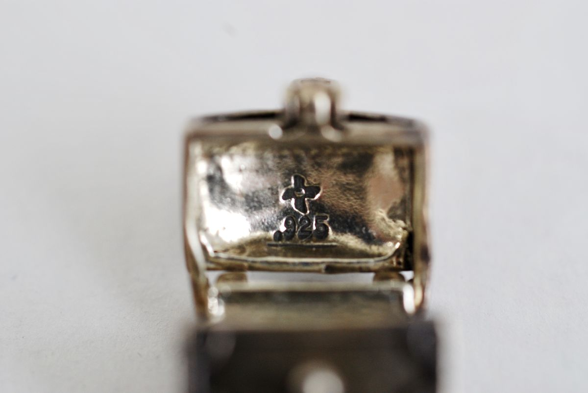Sterling Silver Moveable Treasure Chest Charm - product images  of