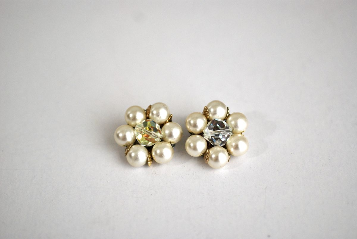 Classic Pearl and AB Crystal Cluster Earrings - product image