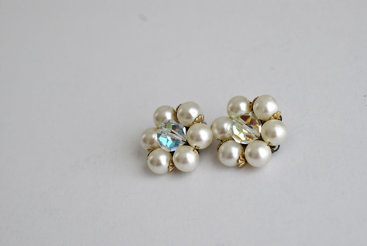 Classic Pearl and AB Crystal Cluster Earrings - product images  of
