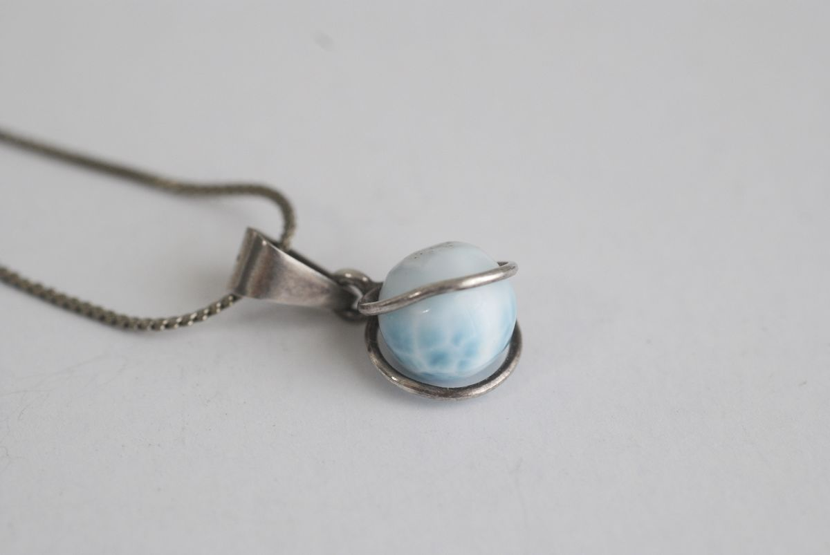 Larimar Ball Pendant in Sterling Silver Setting on Serpentine Chain - product images  of
