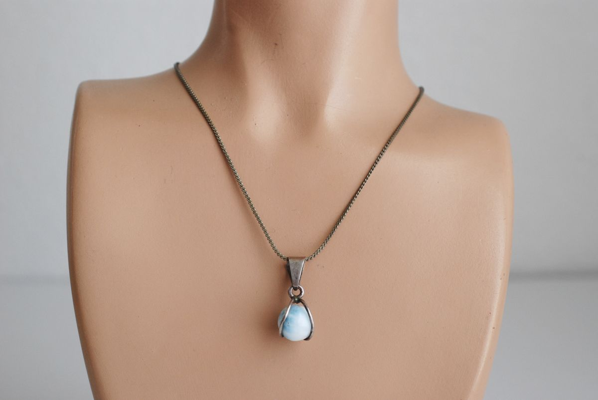 Larimar Ball Pendant in Sterling Silver Setting on Serpentine Chain - product image