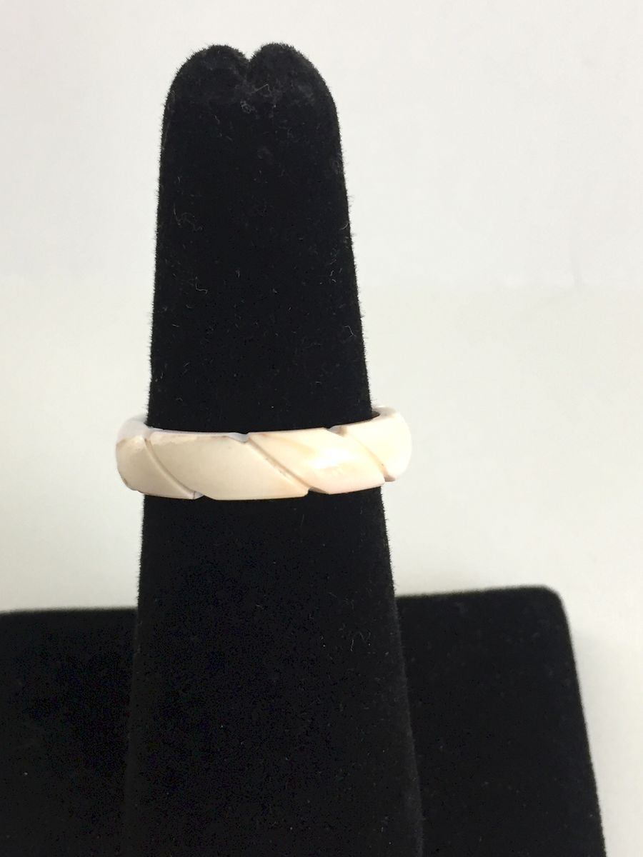 Vintage Carved Shell Ring Band size 7 - product image