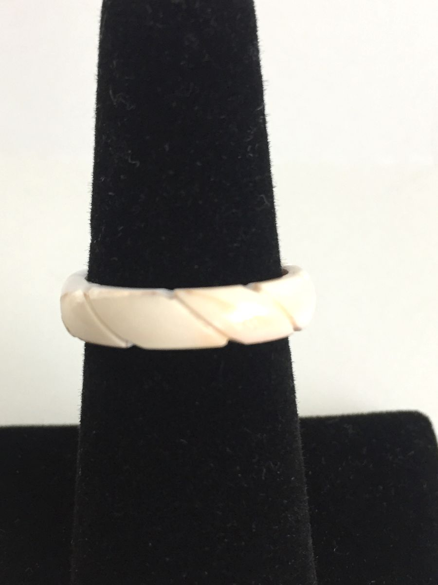 Vintage Carved Shell Ring Band size 7 - product images  of
