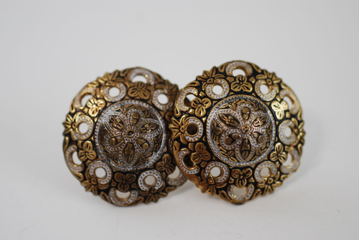 Vintage Faux Toledo Two Tone Earrings Screw Backs - product image