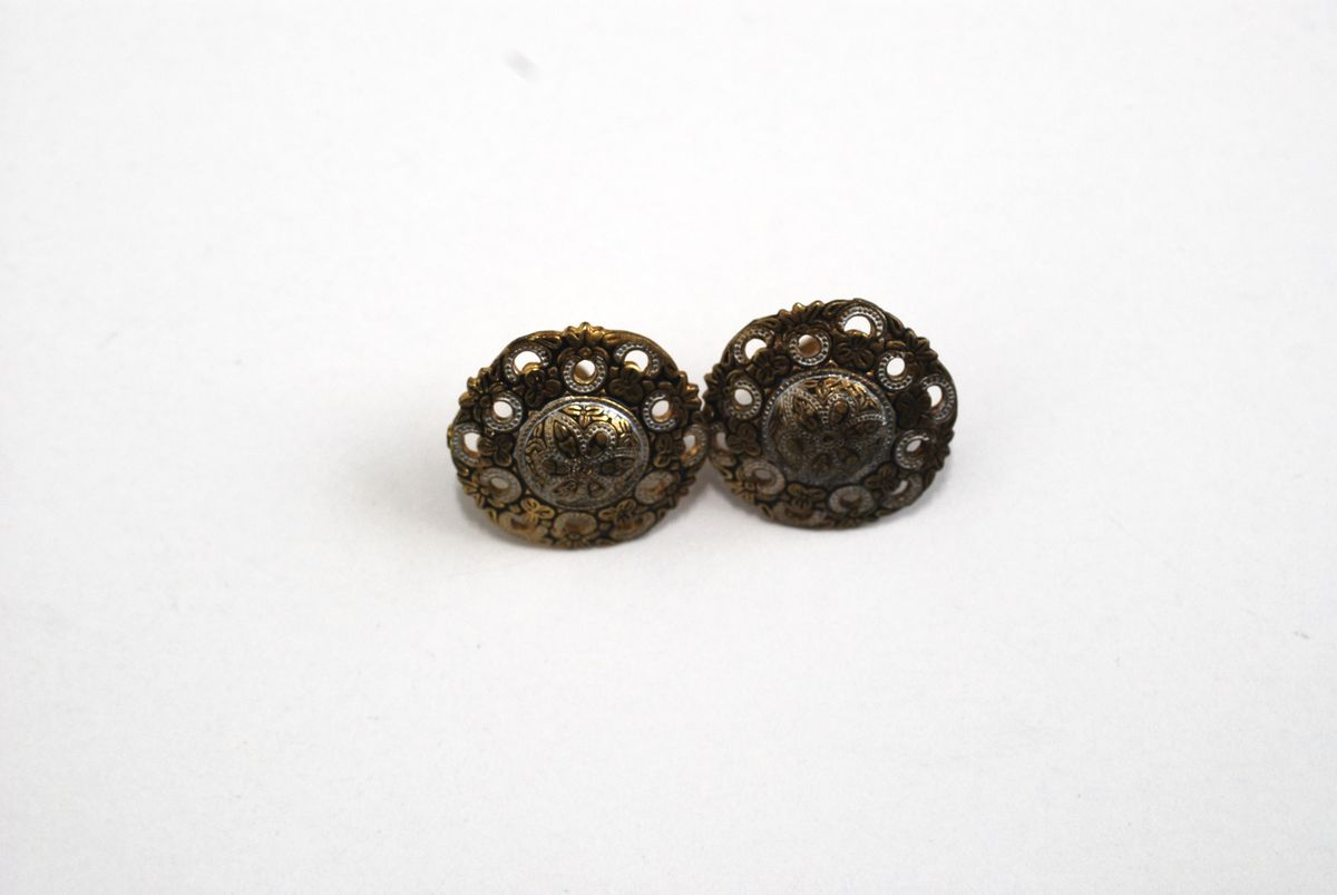 Vintage Faux Toledo Two Tone Earrings Screw Backs - product images  of