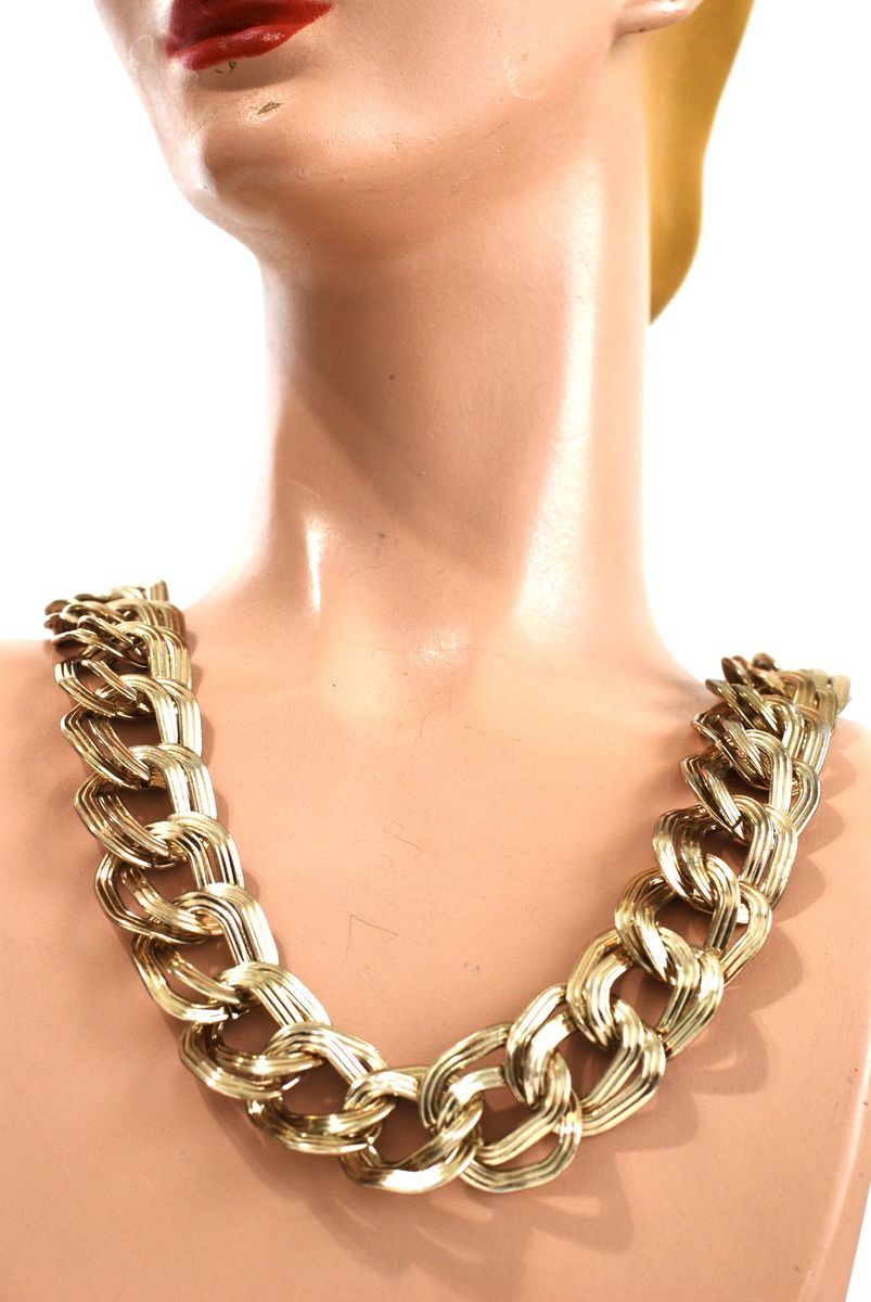 Vintage Anne Klein Chunky Double Link Chain Choker Necklace - product image