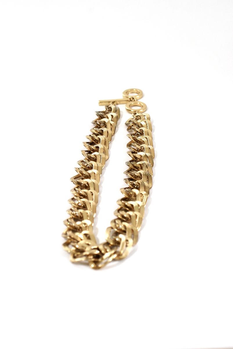 Vintage Anne Klein Chunky Double Link Chain Choker Necklace - product images  of