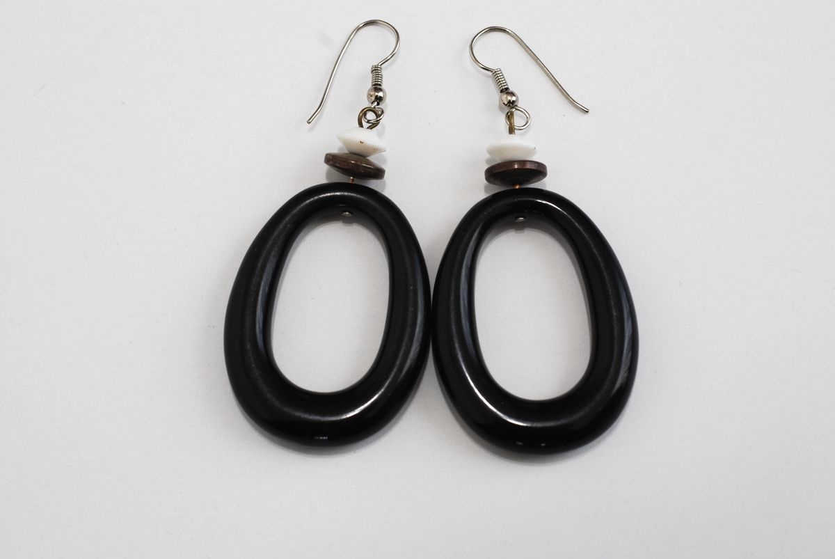 Large Black Oval Dangle Earrings Vintage 1970's - product images  of