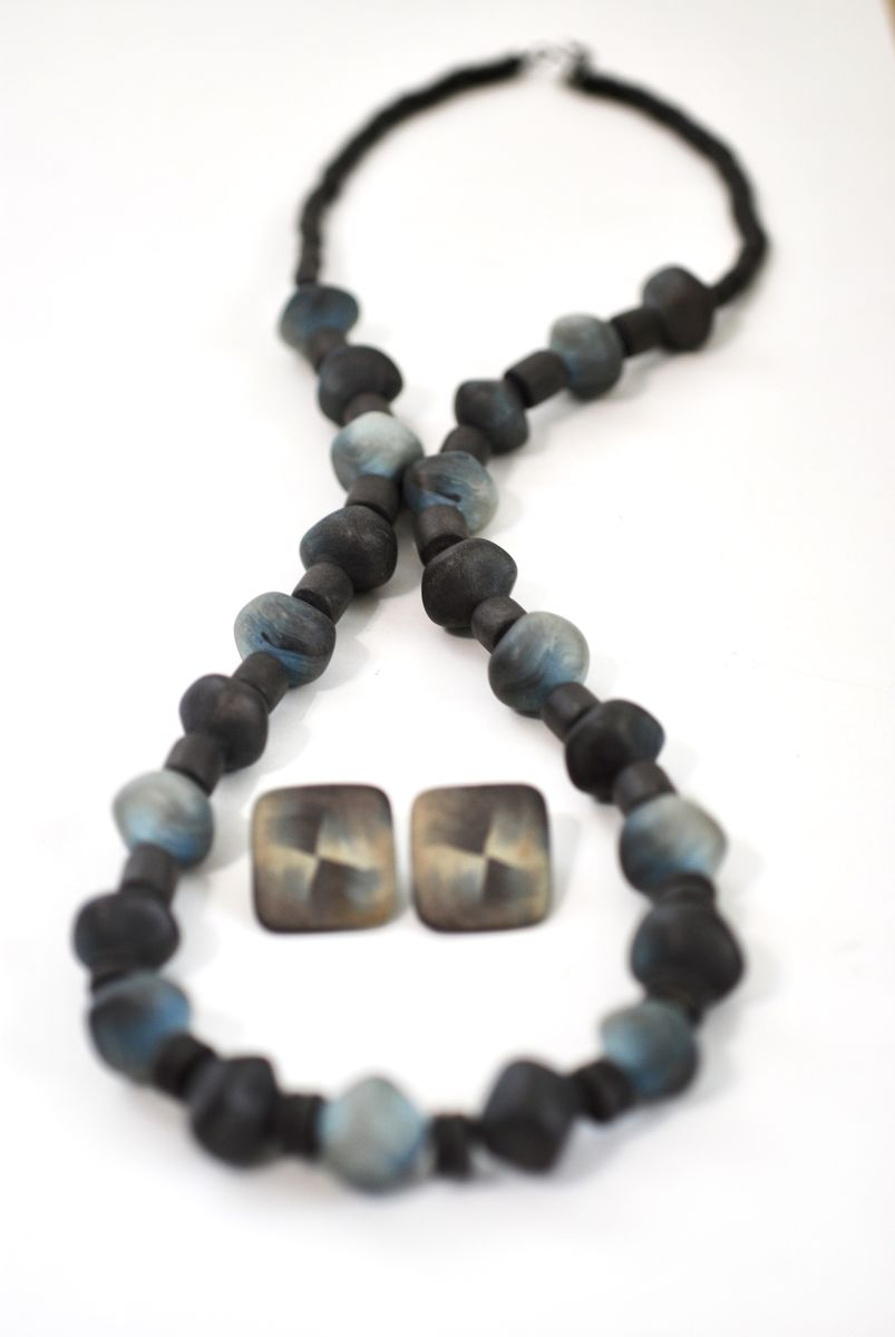 Vintage 90's Handmade Polymer Clay Necklace and Earrings Set Blue/Grey - product images  of