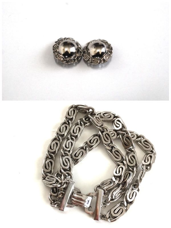Silver Tone Barclay Three Strand Bracelet and Earrings Set  - product image