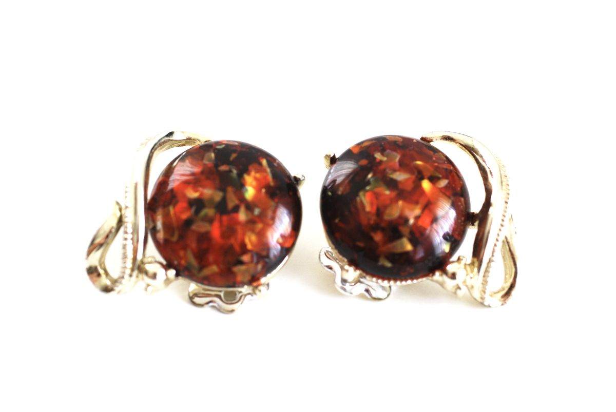 Coro Reddish Gold Confetti Clip On Earrings - product images  of