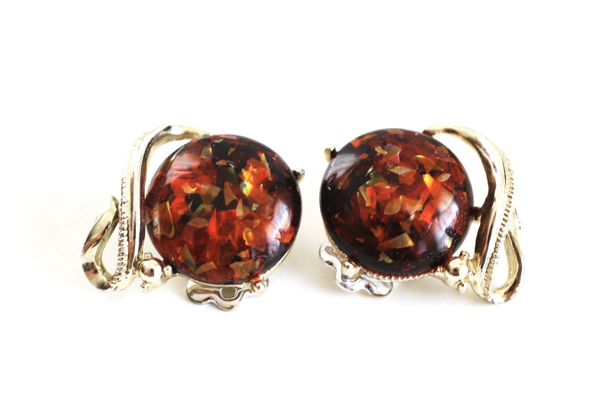 Coro Reddish Gold Confetti Clip On Earrings - product image