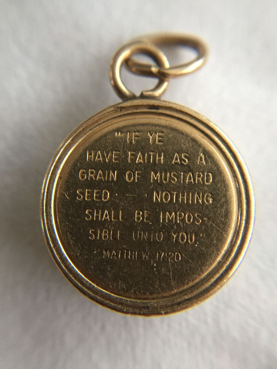 Mustard Seed Charm 14K Vintage Bible Verse Matthew 17:20 - product images  of