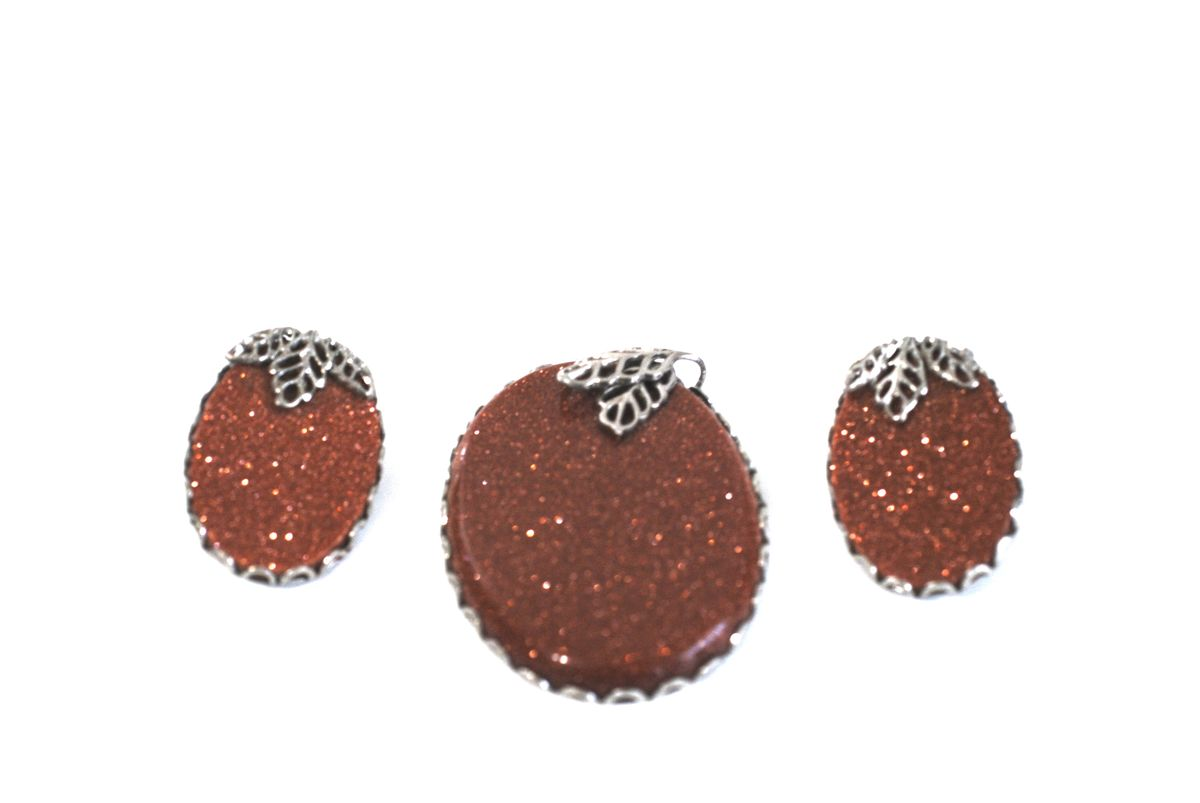 Goldstone Pendant and Earrings Set - product images  of