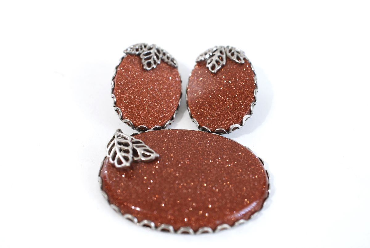 Goldstone Pendant and Earrings Set - product image