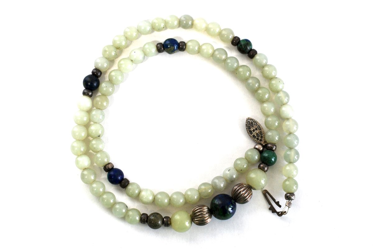 Jadeite Bead Necklace with Malachite, Azurite, and Silver  - product images  of