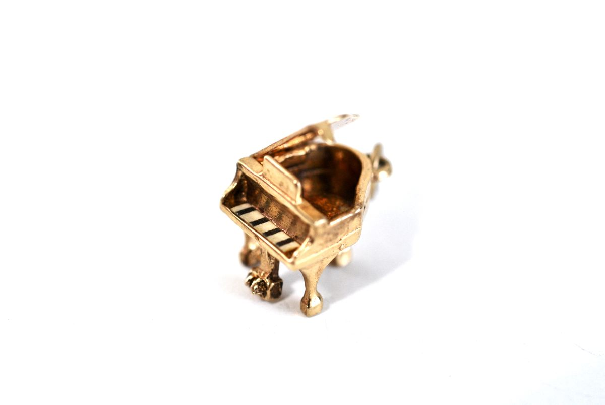 Vintage Gold Vermeil Charm Hinged Grand Piano - product images  of