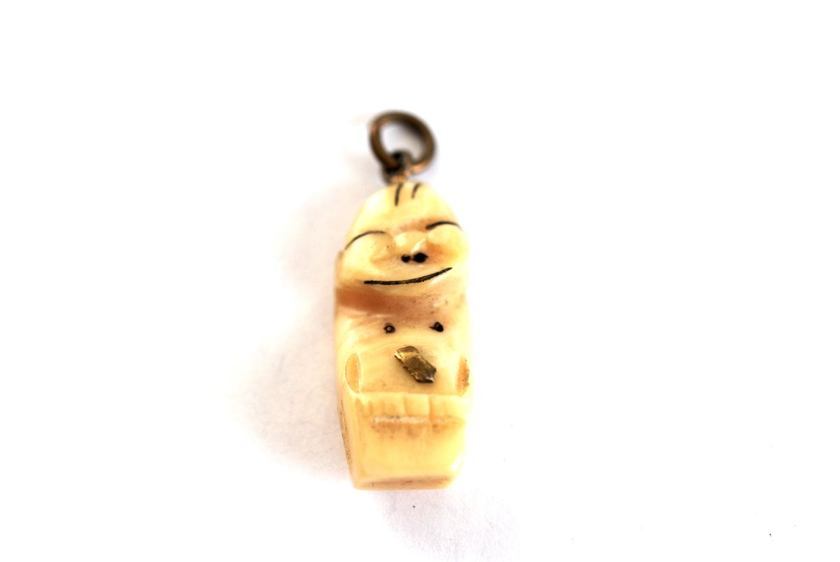 Vintage Alaskan Billiken Carved Bone Good Luck Charm - product images  of