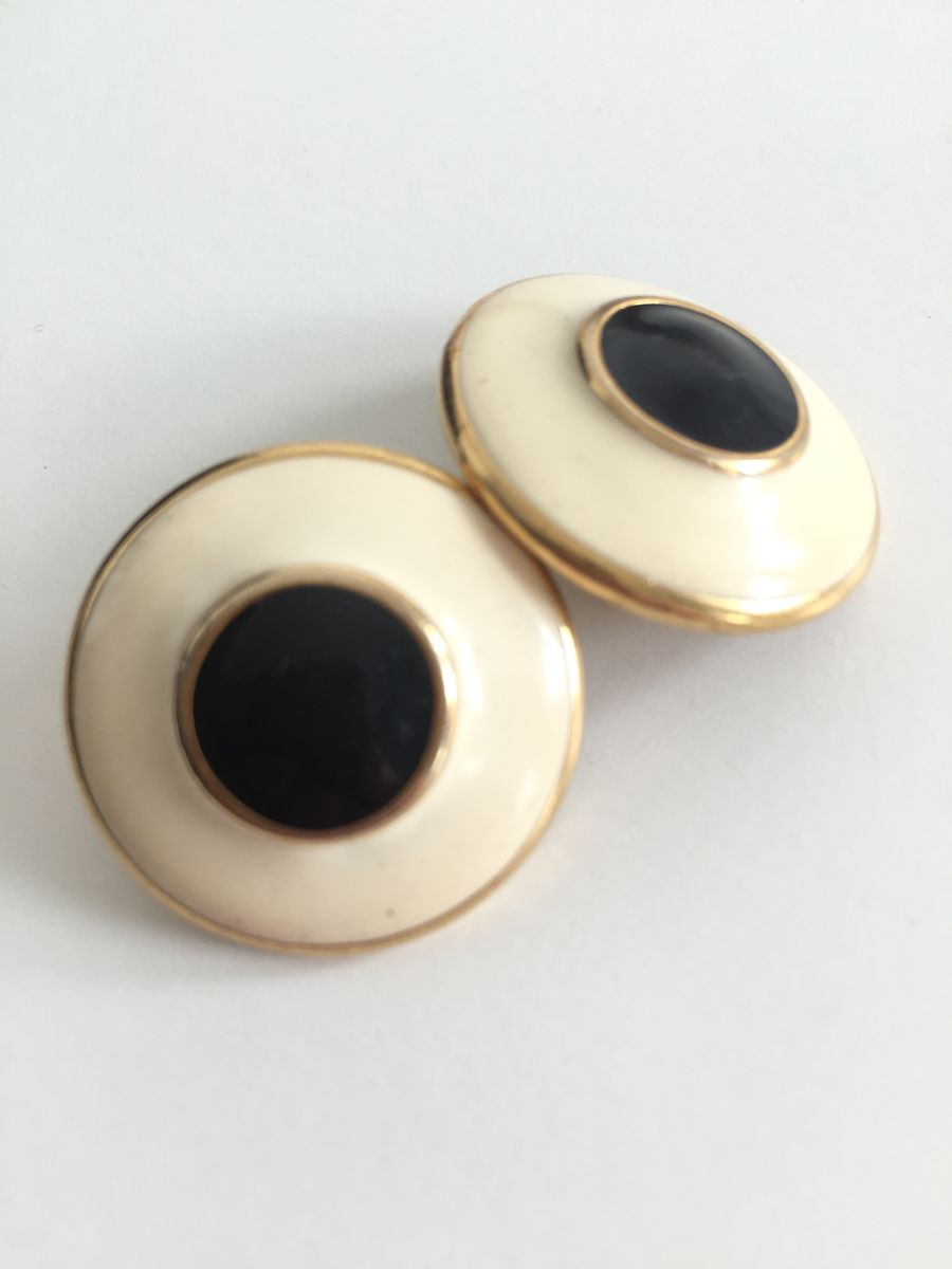 Cream and Black Enamel Monet Round Earrings - product images  of