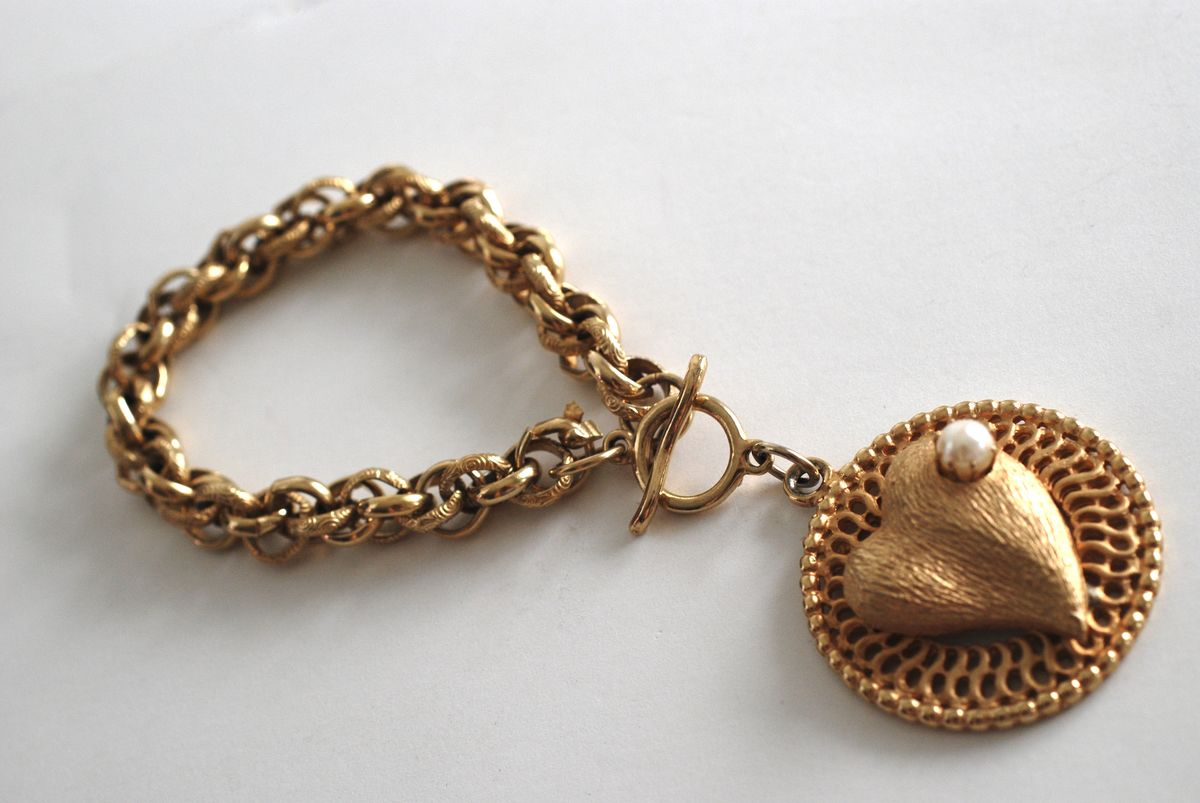 Chunky Textured Chain Bracelet with Large Heart Charm - product images  of