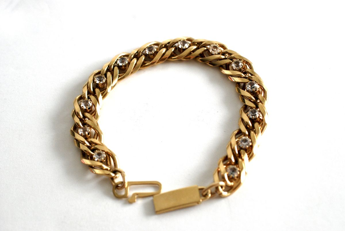 Double Link Curb Chain Bracelet with Inset Clear Stones in Gold Tone - product images  of