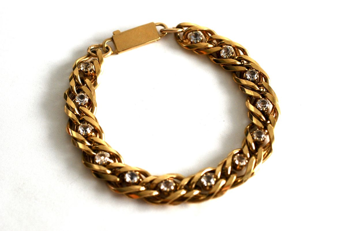 Double Link Curb Chain Bracelet with Inset Clear Stones in Gold Tone - product image