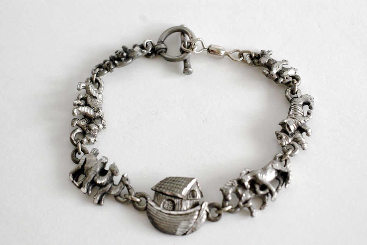 Pewter Noah's Ark Bracelet marked EJC 96 - product images  of