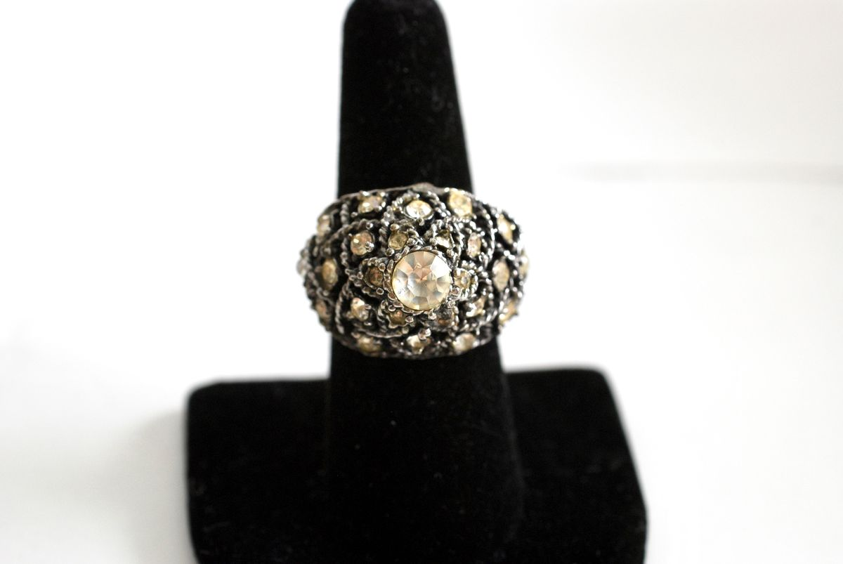 Vintage 1960's Large Domed Cocktail Ring Silvertone with Rhinestones Adjustable - product image