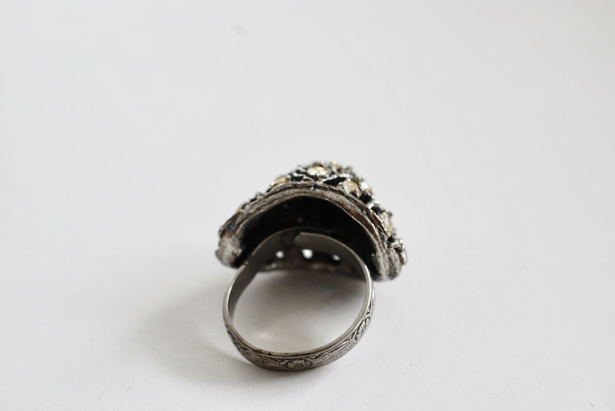 Vintage 1960's Large Domed Cocktail Ring Silvertone with Rhinestones Adjustable - product images  of