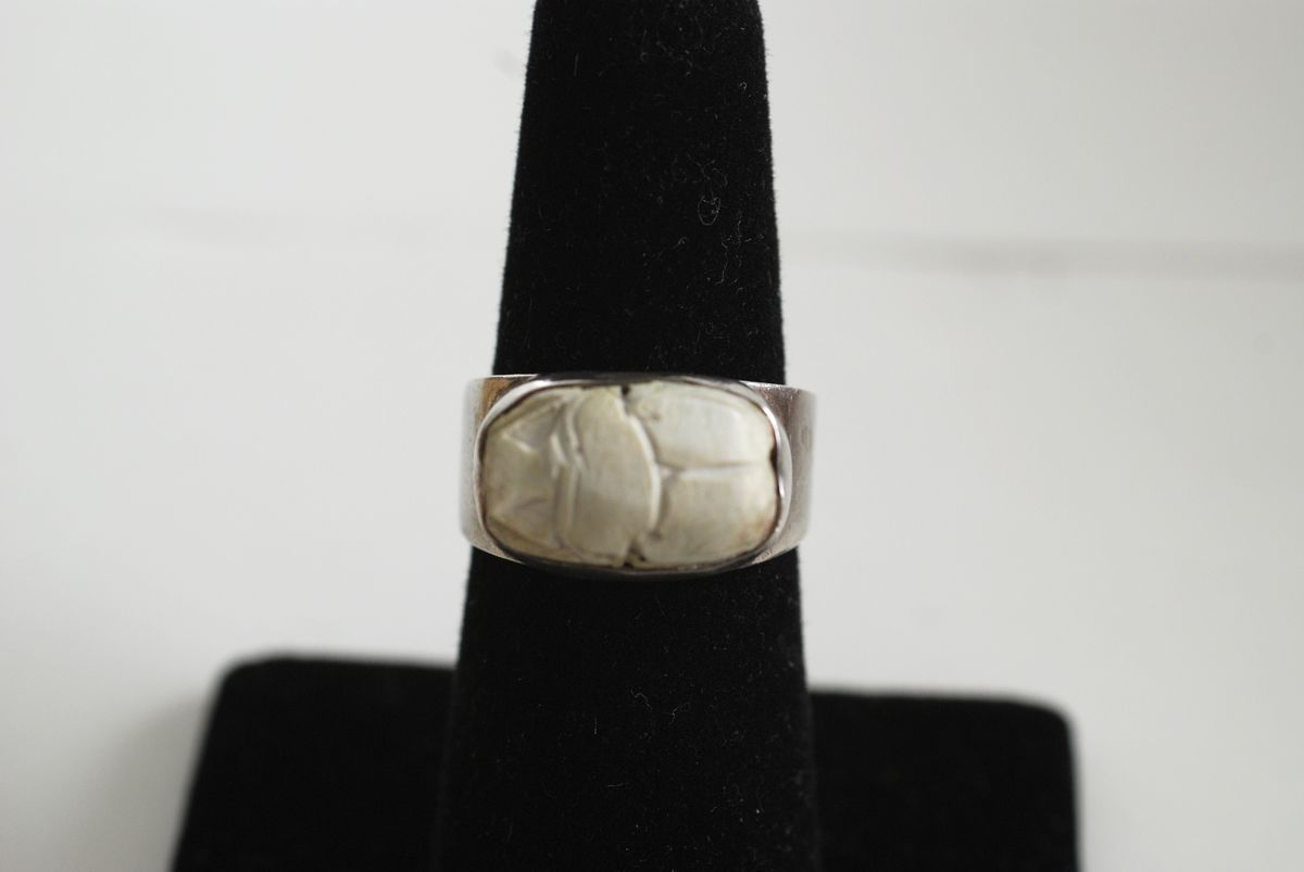Sterling Silver Egyptian Revival Scarab Bead Ring size 7 - product image